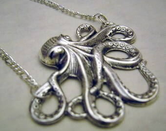 Steampunk Cthulhu Octopus Silver Squid Necklace