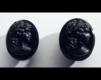 Antique Victorian French Jet Cameo Earrings