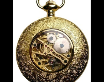 Gold Pocket Watch With Window to see Gears