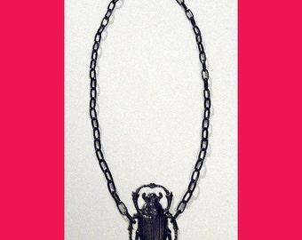 Nouveau Black Gun Metal Scarab Beetle Necklace