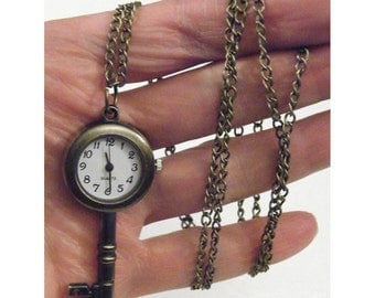 Steampunk Retro Victorian Skeleton Key Clock Watch Necklace or chain