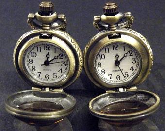 Mens Pocket Watch Cufflinks Steampunk Victorian Style Amber Glass Cuff links
