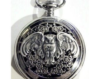 Steampunk Silver Owl Pocket Watch and Chain Fob