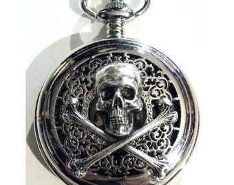 Steampunk Pocket Watch with Poison Skull and Crossbones