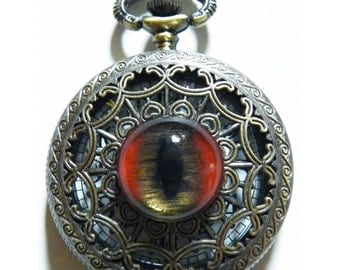 Red Dragon Glass Eye Pocket Watch Necklace