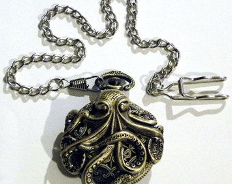 Steampunk Antique Victorian Style Brass Octopus Pocket Watch and Silver chain fob