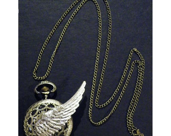 Steampunk Time Lord Winged Pocket Watch Necklace Tempus Fugit