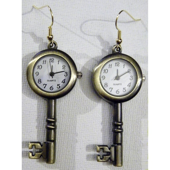 Watch Earrings Steampunk Retro Brass Victorian Skeleton Key Clock