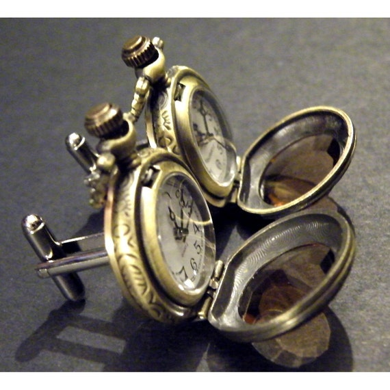Steampunk Antique Victorian Style Faceted amber glass Pocket Watch Cufflinks