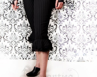 Victorian pinstripe capri pants with ruffles at the knee