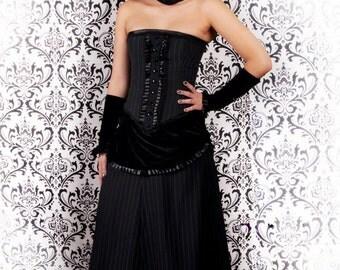 Victorian pinstripe and velvet skirt