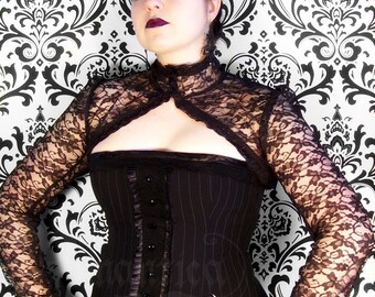 Victorian lace shrug with long sleeves