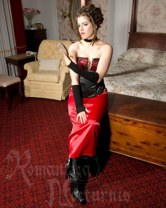 Faux-leather bustier and satin bustle skirt, One of a kind