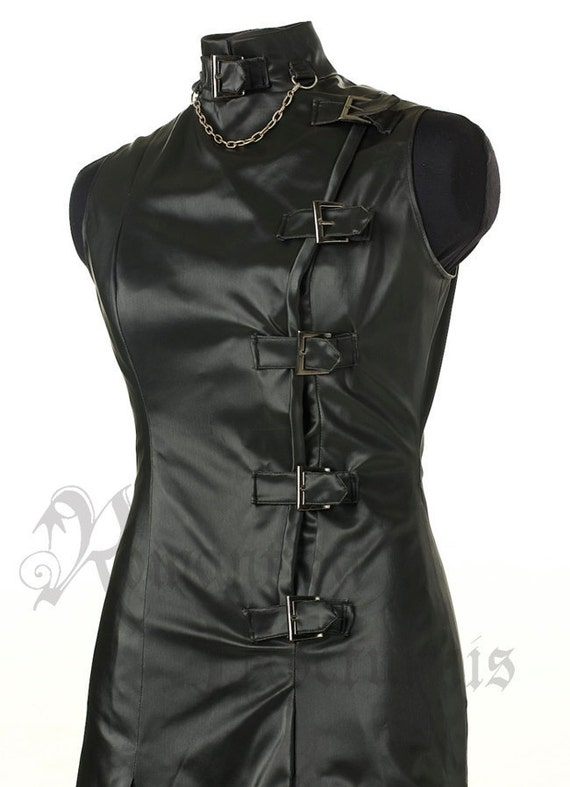 Faux-leather dress with buckles, one of a kind