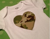 ARMY Multicam Heart and Ruffle Onesie- Made to Order