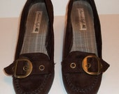 Shoes oxfords loafers brown suede wedge heel front decorative buckle at lilacinspirations