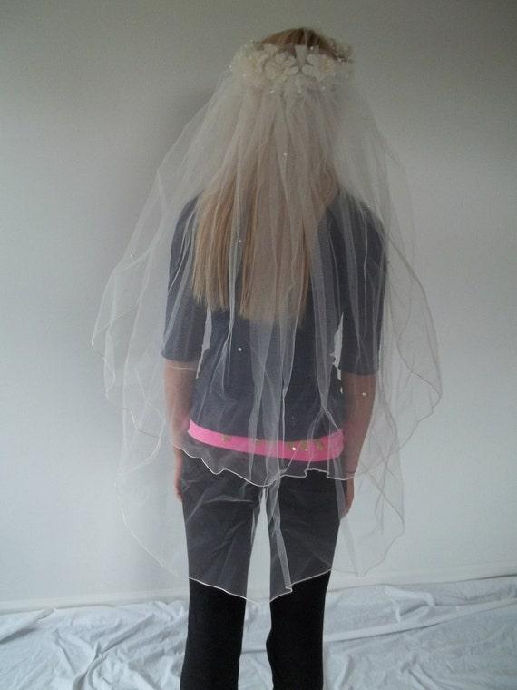 SALE Wedding veil bridal veil finger tip length tiara / halo full of daisys and pearls at lilacinspirations