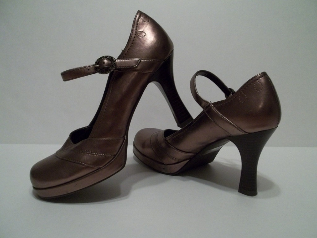 platform shoes bronze with buckle high heel by