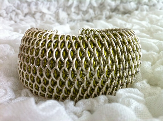 Silver and Peridot Dragonscale Bracelet