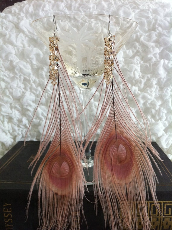 Pink Peacock Feathered Earrings