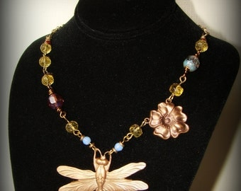 Dragonfly brass pendant and glass bead necklace