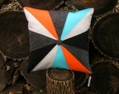 VANCOUVER PINWHEEL - 20x20 Inch Recycled Felt Pillow - Silver Gray, Charcoal, Orange, Black and Lagoon