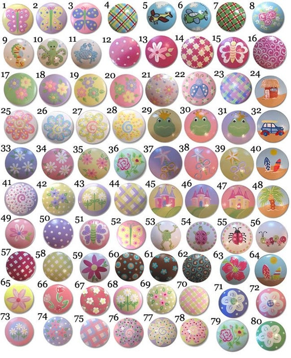 Childrens KIDS Painted Drawer Pulls Knobs - You choose the design