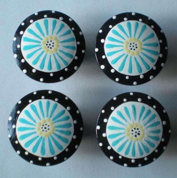 "4 Blue Large 2"" Drawer knobs FLOWER POP Daisy - SALE - 3.00 each"