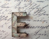 Letter E laser cut wooden alphabet inital brooch with vintage map -  made front page