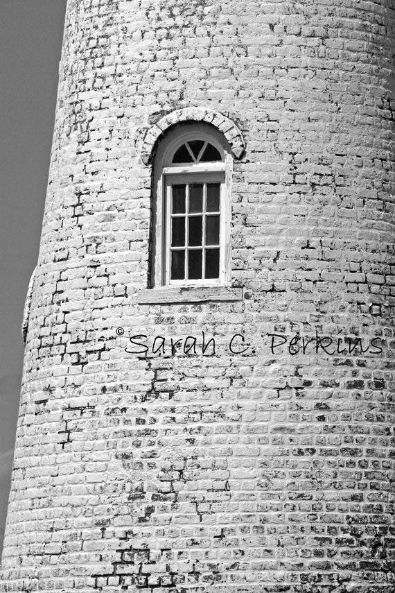 White Lighthouse-Window Photograph-Coastal Wall Art-Brick Wall Decor-Fine Art -B&W-8x10/8x12/11x14/11x16/12x18/16x20/16x24/20x24/20x30/24x36