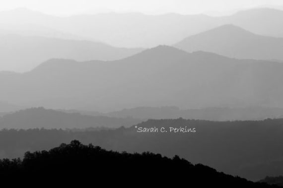 Black & White Photography-Landscape Photography-Mountain Print-Silhouette Art-Gray Wall Art-North Carolina-Mountain Range-Large Wall Print