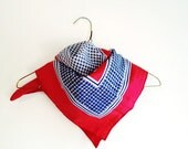 Nautical Scarf in Red White and Blue - Vintage Scarf