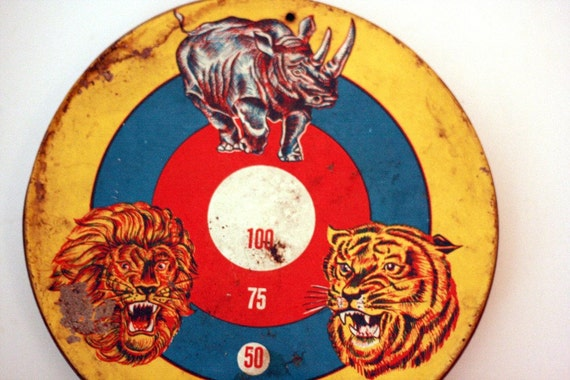 Tin Target - Antique - Includes Tiger Lion and Rhino Target - Yellow Blue and Red - Great Wall Decor for a Kid's room or Nursery