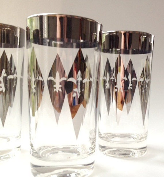 Dorothy Thorpe Style Glasses- Set of SIX - with Silver Rim Mid Century Modern Vintage Hollywood Regency Mad Men 50s Glassware
