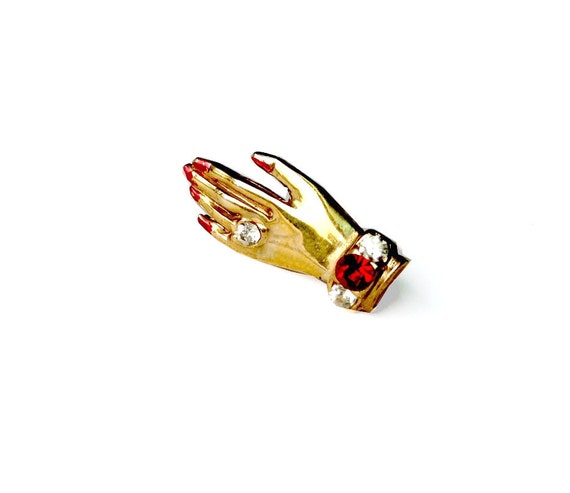 Vintage Brooch - Tiny hand with Gemstones and red nails - Gold Toned Costume Jewelry