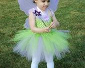 FREE SHIPPING - Tinkerbell Inspired Tutu Dress Halloween Costume - includes crochet top tutu dress, headband, wings and wand