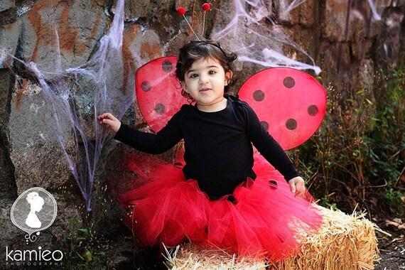 FREE SHIPPING - Ladybug Tutu Halloween Costume - includes tutu, wings, headband, and wand.