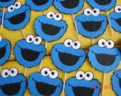 24 Cookie Monster Cupcake toppers
