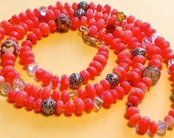 Whimsical Coral with Bali Silver and Crystals