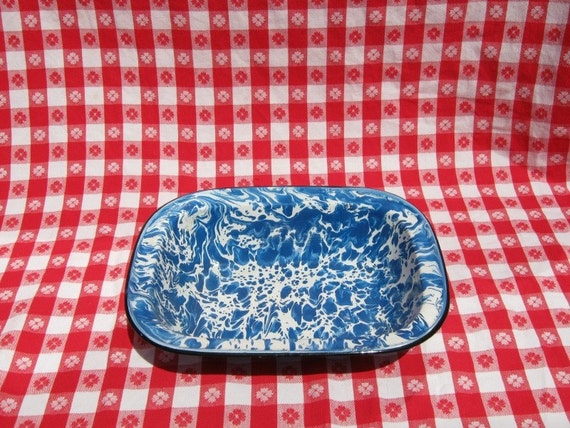 Vintage Bakeware - Blue and White Speckled graniteware FREE shipping