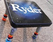 To Infinity.... Hand Painted Personalized Step Stool for Your Little Astronaut--Custom Designs or Orders also available