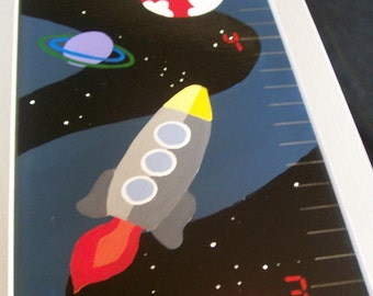 To Infinity... A Handpainted Space Ship Growth Chart for Children