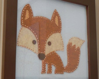 Mr. Fox---12 x 12 Framed Stiched Felt Handmade Artwork for Child's Room