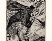 "Nicholas Wilson Etching of a Rabbit ""UMBRELLAS"""