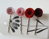 Sweet Heart Mix - Paper Flower Bobby Pins Set of 4