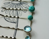 Reserved for MS - Charm School Bobby Pins - Turquoise Glimmer Set of 6 Pins