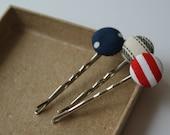 Set for Sail Nautical Theme Fabric Covered Bobby Pin Set - Set of 3 Pins