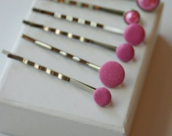 Poppin Pink Bobby Pins - Set of 6 Bobbies