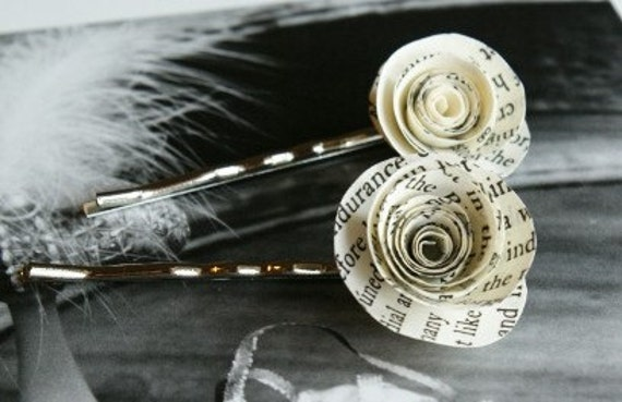 Bookish Bobby Pin Set Paper Flower Hair Pins