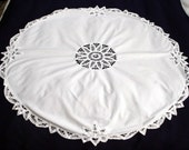 White Battenburg lace tablecloth/table topper